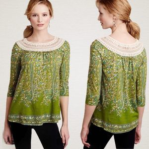 Anthro Meadow Rue Earthly Delights Peasant Shirt